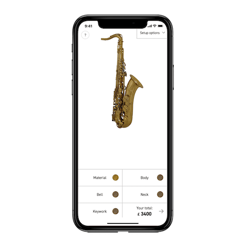Image of Saxophone Builder Website on an iPhone X
